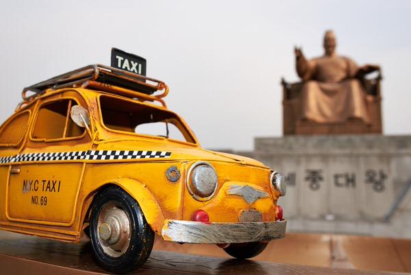 "Taxi zum Denkmal ""Sejong der Große"", Seoul, Südkorea"