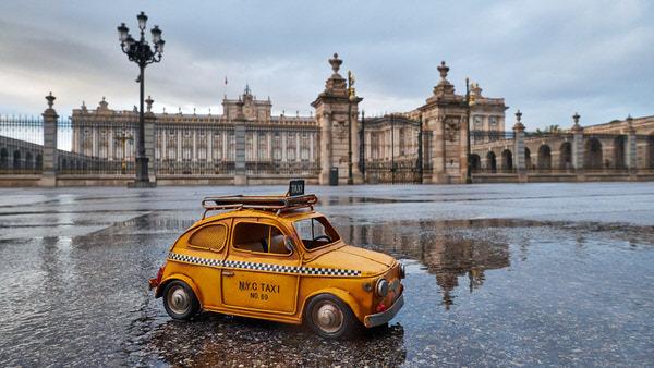 Taxi zum Königlichen Palast, Madrid, Spanien