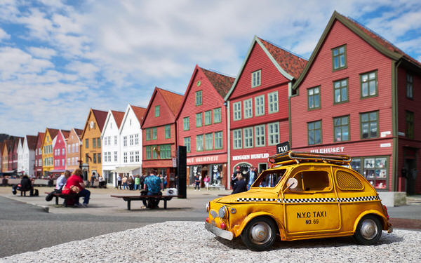 Taxi nach Bryggen, Bergen, Norwegen