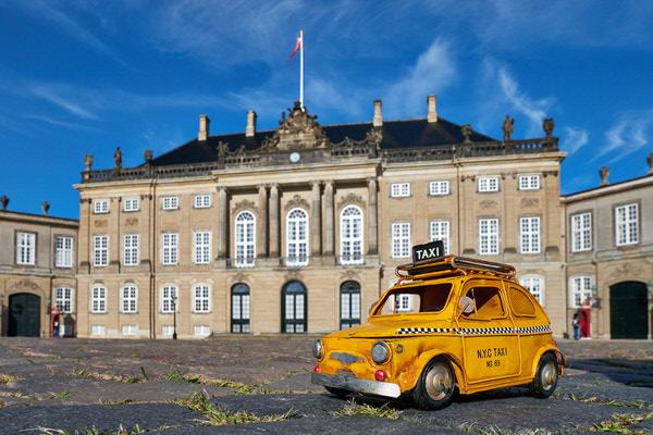 Taxi zum Schloss Amalienborg, Kopenhagen, Dänemark