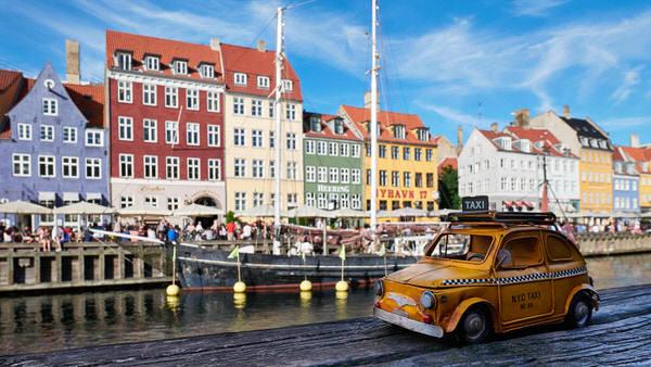 Taxi nach Nyhavn, Kopenhagen, Dänemark