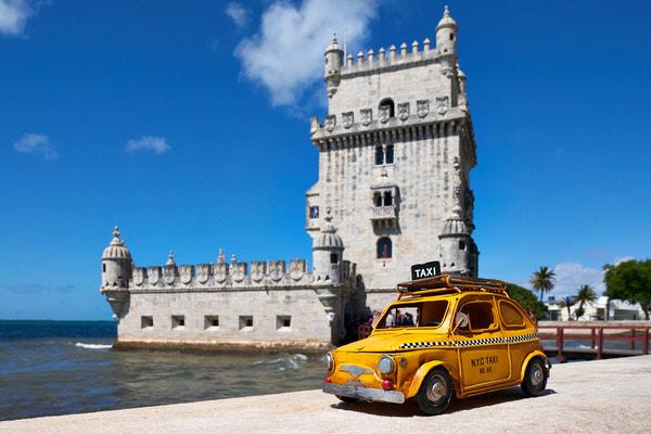 Taxi zum Torre de Belém, Lissabon, Portugal