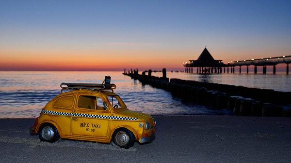 Taxi zum Strand von Heringsdorf, Usedom, Deutschland
