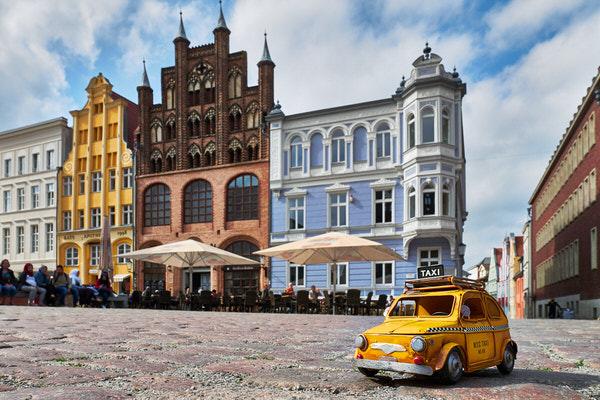 Taxi zum Alten Markt, Stralsund, Deutschland