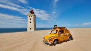 Taxi zum Rubjerg Knude Leuchtturm, Løkken, Dänemark