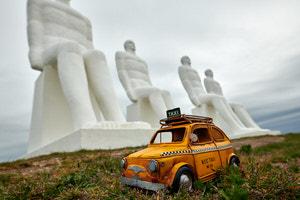 """Taxi zur Skulptur """"Mensch am Meer"""", Esbjerg, Dänemark"""